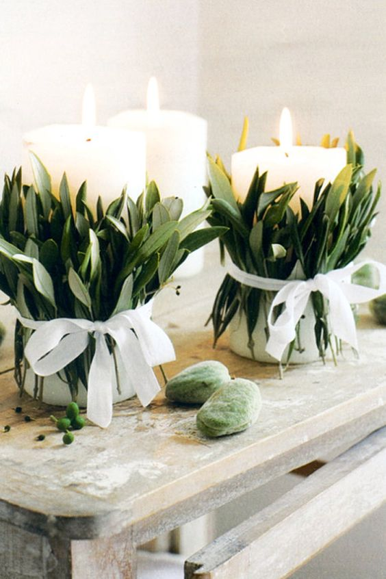 Candele decorate per un matrimonio hygge