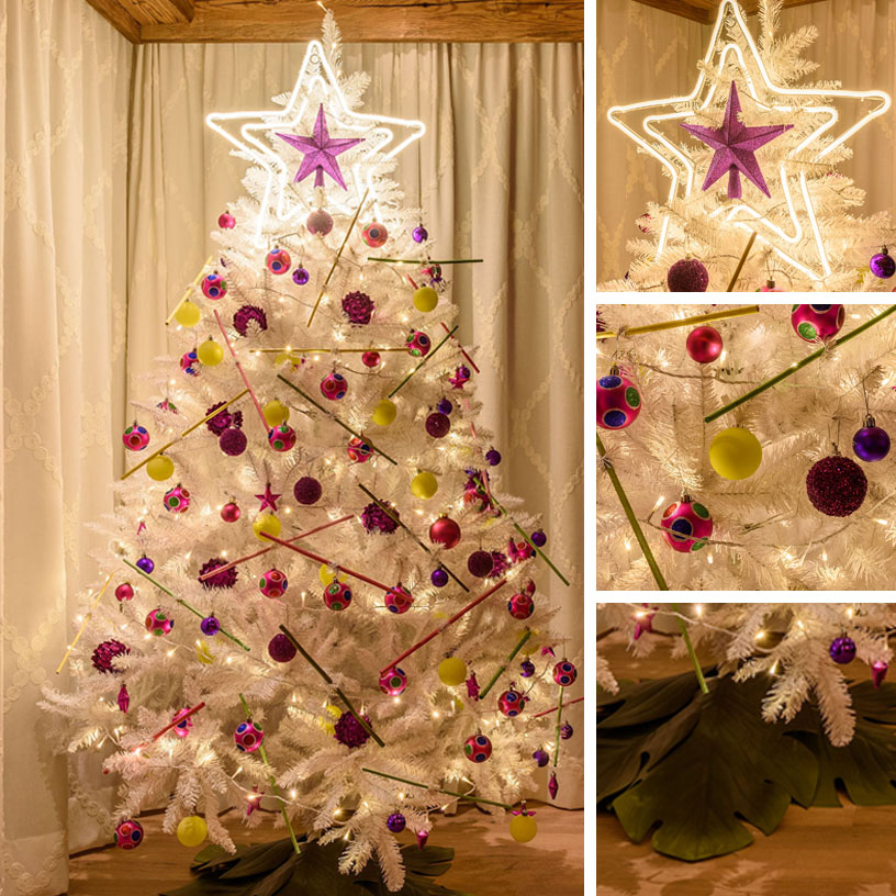 Sapin de Noël alternatif multicolore jaune et rose