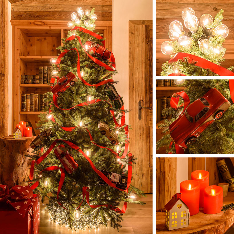 Árbol de navidad 20 cadena luces LED Timer madera metal-árbol marrón nieve 40cm
