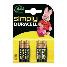 Batterie ministilo AAA Duracell Simply, set di 4