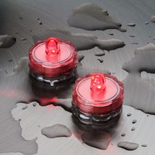 2 Bougies chauffe-plat led à piles, submersibles, led rouge