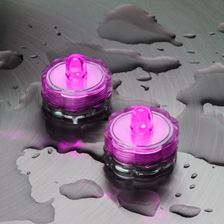 2 Bougies chauffe-plat led à piles, submersibles, led rose