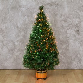 Sapin artificiel vert, fibre optique multicolor, 120 cm, ampoule 12V 20W