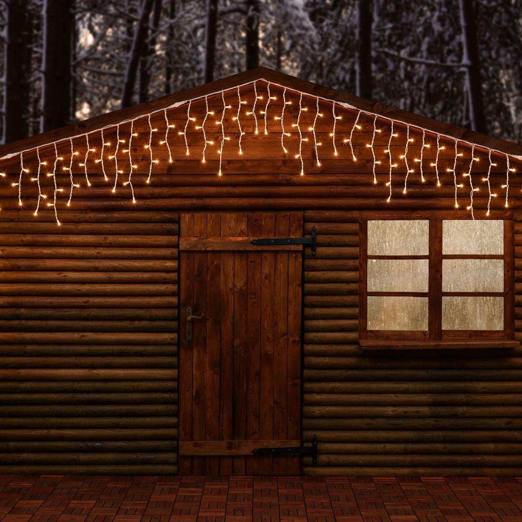 Eisregen-Lichterkette 5 x h 0,5 m, 190 Lampen warmweiß, weißes Kabel ...