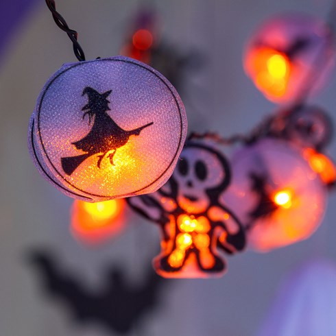 Guirlande 1,35 m, 10 squelettes Halloween, led orange