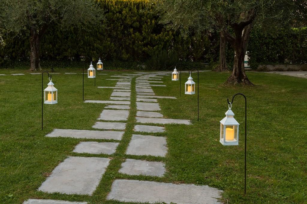 Set de 3 pies de jard n negro para farol h 110 cm - Farol solar para jardines y exteriores ...