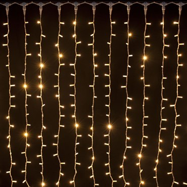 Rideau 2 x 1,5 m, 304 Led blanc chaud, câble blanc, prolongeable