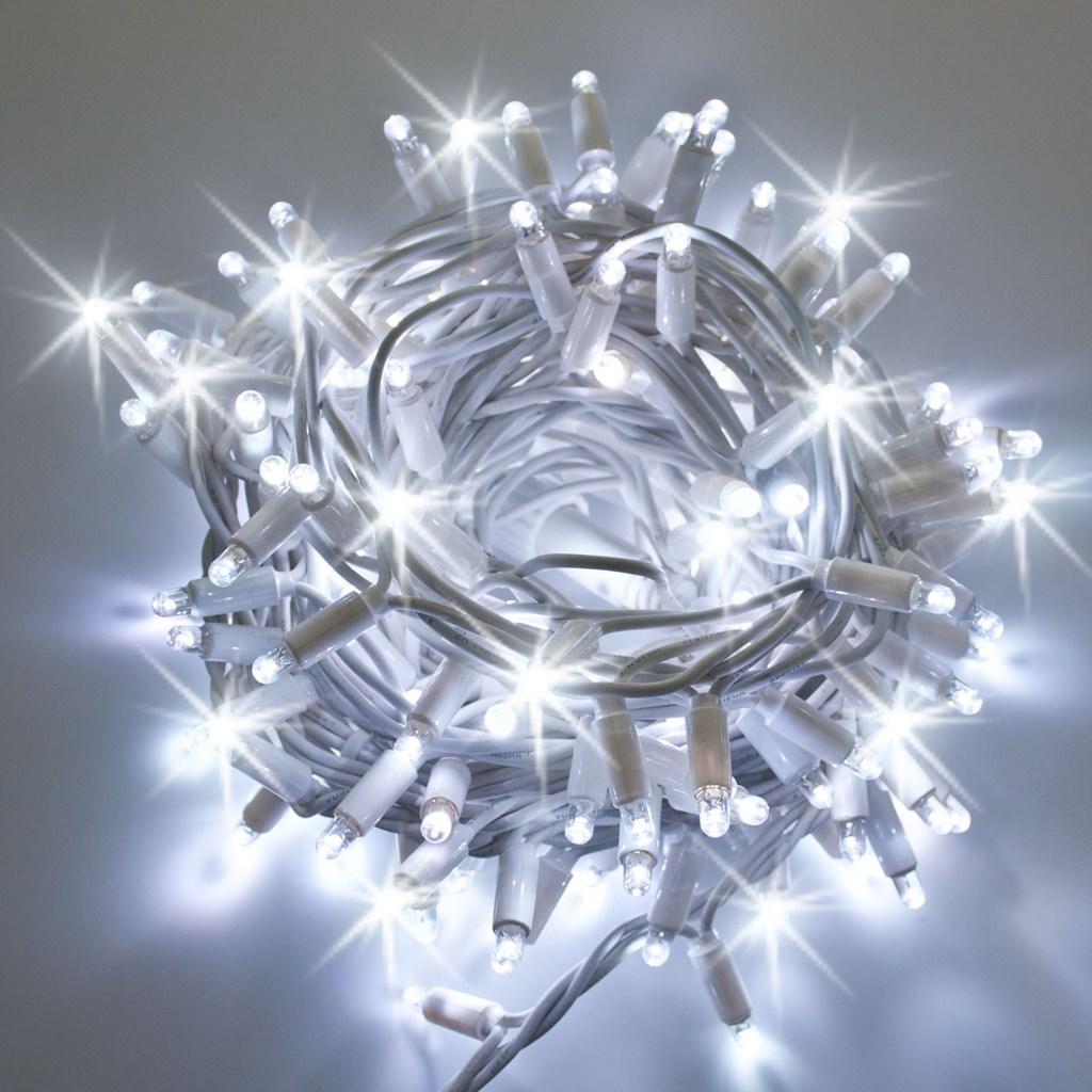 Lichterkette 10 m 200 maxi leds kaltwei wei es kabel for Lichterkette ohne kabel