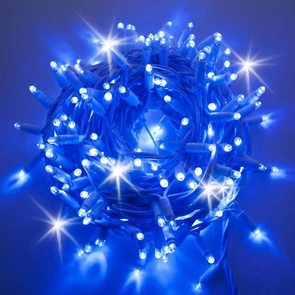 Guirnalda de luces profesionales 10 m 200 maxi led azul con destellos cable blanco for Led lumineuse