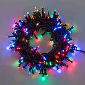 Lichterkette 12,8 m, 320 LEDs multicolor, grünes Kabel