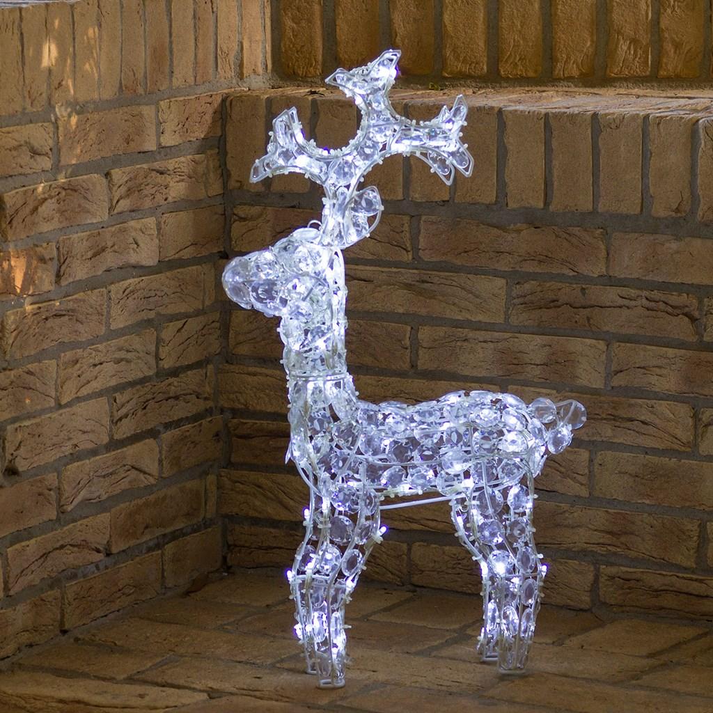 Renna con cristalli h 70 cm 100 led bianco freddo motivi per la casa - Renna natalizia luminosa per giardino ...
