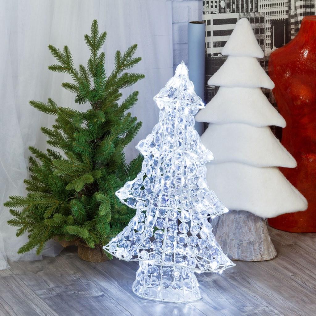 Tannenbaum Acryl.Tannenbaum Mit Acryl Kristallen H 75 Cm 120 Leds Kaltweiß