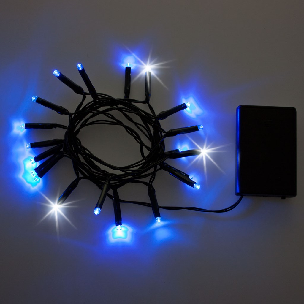 Guirnalda de luces a pilas 2 m 20 led azul con destellos - Guirnalda luces led ...