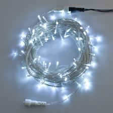 Guirlande 10 m, 100 led blanc froid, câble transparent, prolongeable