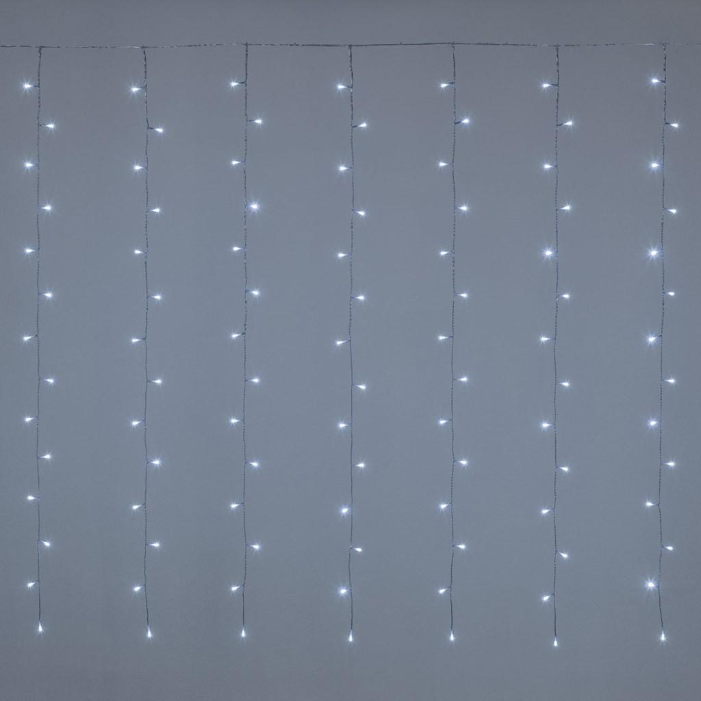 Cortina de luces 3 x h 1 52 m 182 led blanco fr o cable for Cortina de luces