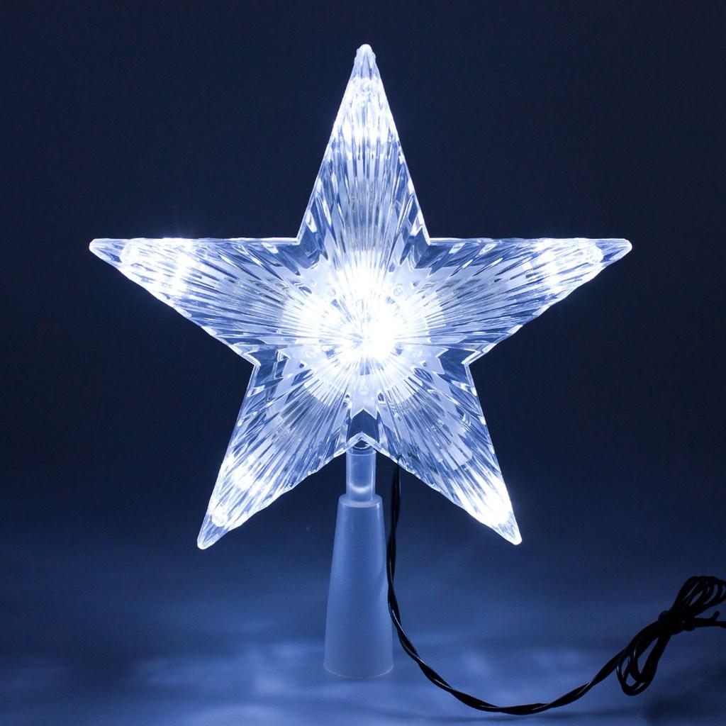 Estrella punta de rbol de navidad h 21 cm 10 led for Arbol de navidad led