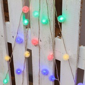 Catena a batteria 5,8 m, 30 Snow Balls Ø 35 mm, led multicolor, cavo trasparente