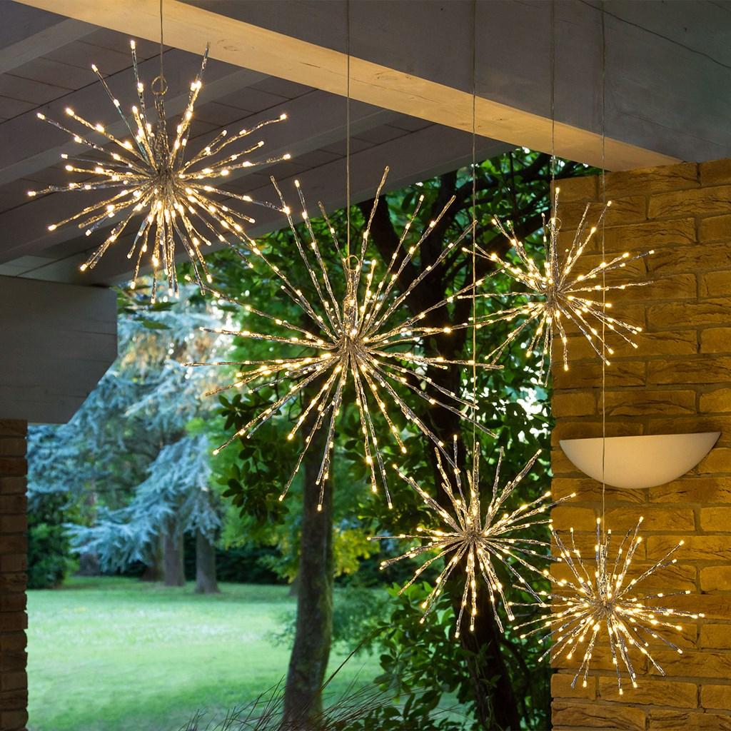 silberner fireball 40 cm 100 leds kaltwei lichterzweige. Black Bedroom Furniture Sets. Home Design Ideas
