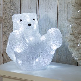 Ours polaire assis, h. 23 cm, 32 LED blanc froid