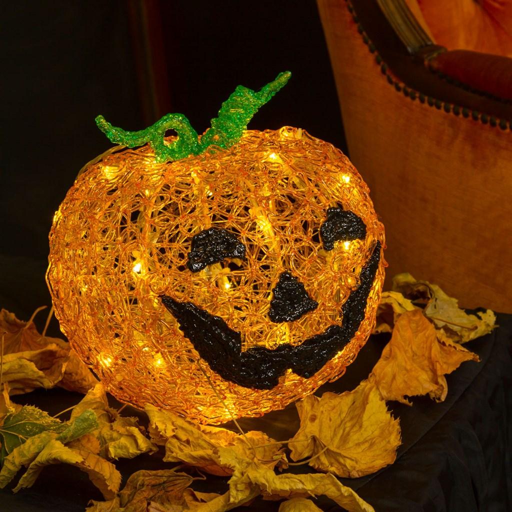 Immagine Zucca Di Halloween 94.Zucca Halloween 3d H 22 Cm Led Bianco Caldo