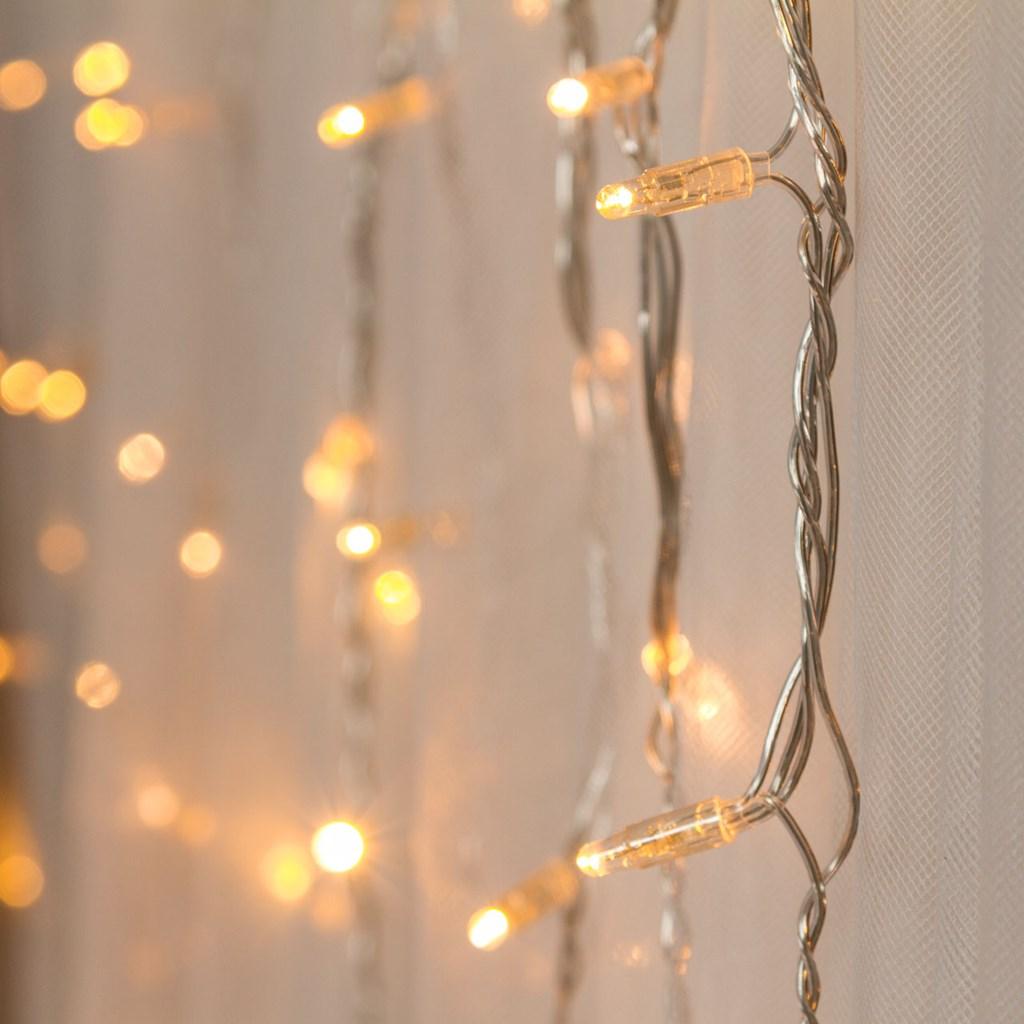 Lichtervorhang 6 x h 1 m, 288 LEDs warmweiß, transparentes Kabel ...
