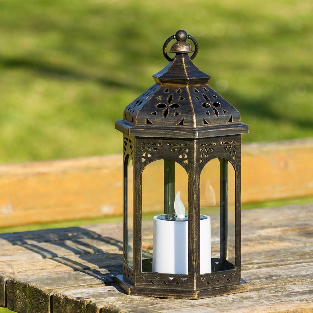 lanterne solaire hexagonale bronze antique avec bougie h. Black Bedroom Furniture Sets. Home Design Ideas