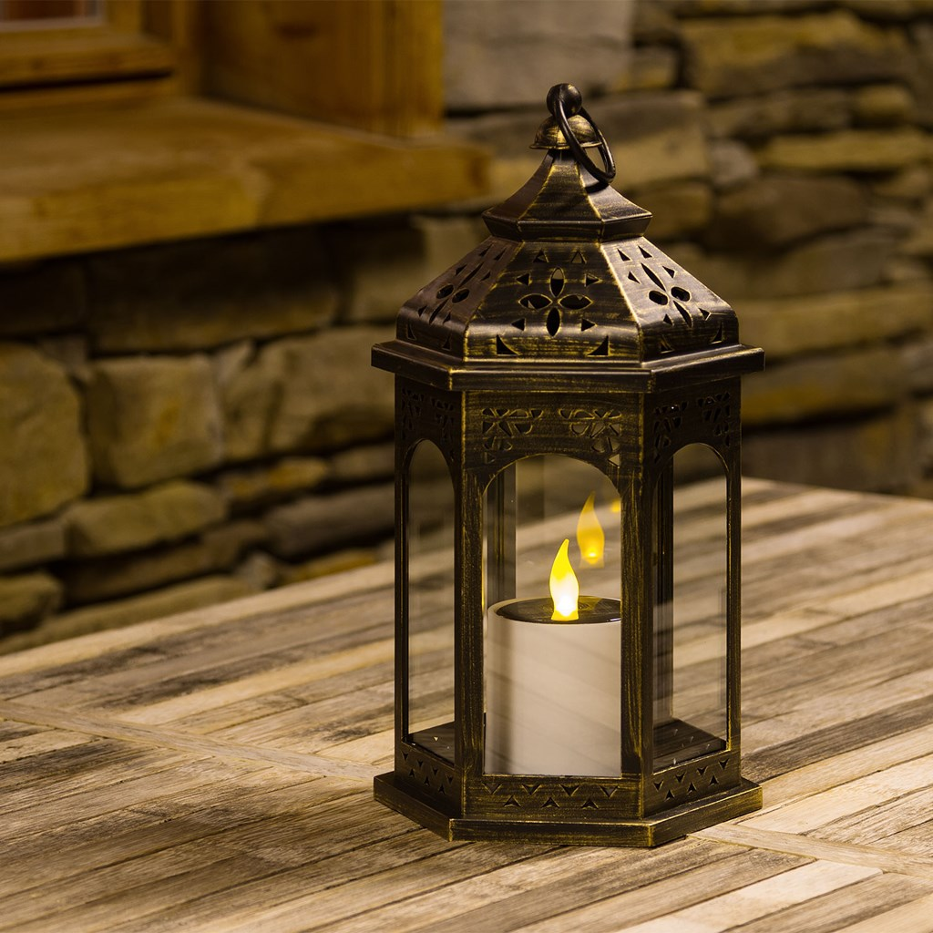 lanterne solaire hexagonale bronze antique avec bougie h 32 5 cm led jaune lanternes led. Black Bedroom Furniture Sets. Home Design Ideas