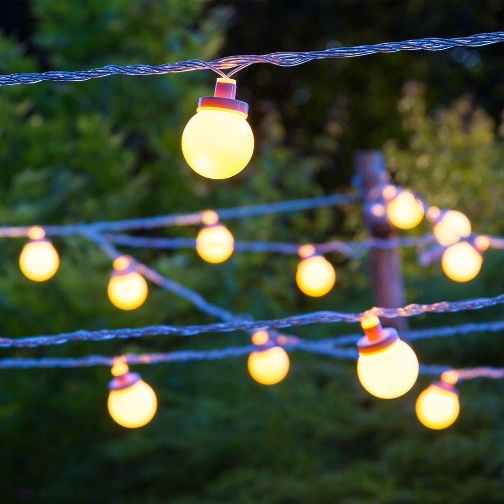 Party light 5 m 10 sfere led 5 cm bianco caldo cavo - Cavo con lampadine da esterno ...