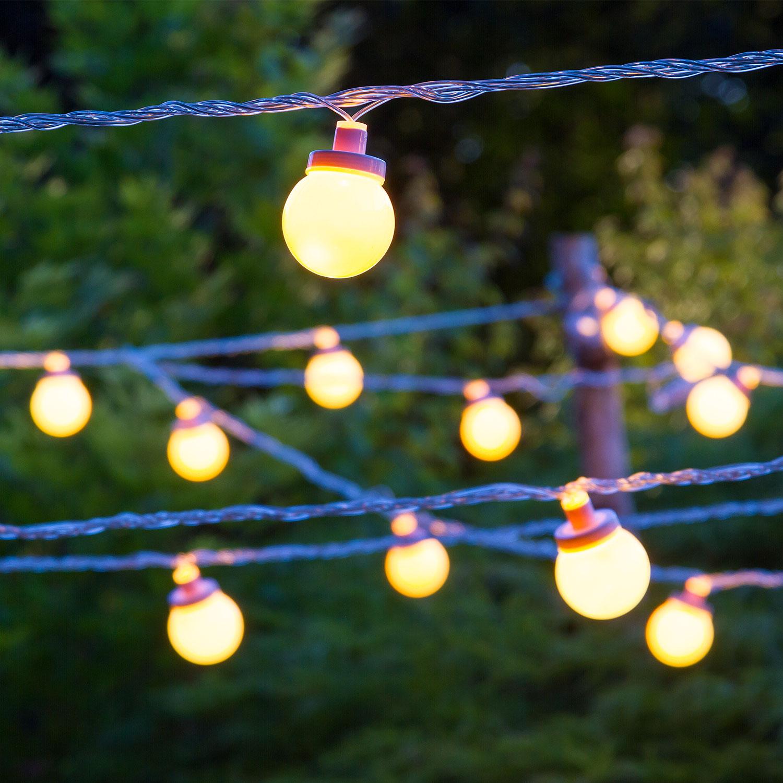 Exceptional Catena Party Light 20 M, 40 Sfere Ø 5 Cm Led Bianco Caldo, Cavo