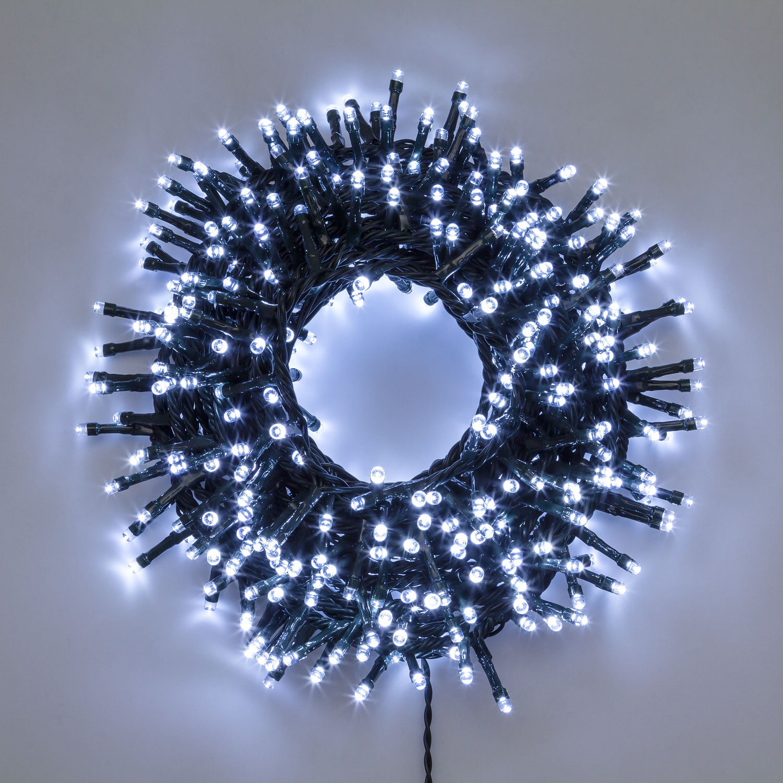 gr/ünes Kabel 30V 750 LEDs kaltwei/ß MiniCluster Lichterkette 16 m Dauerlicht