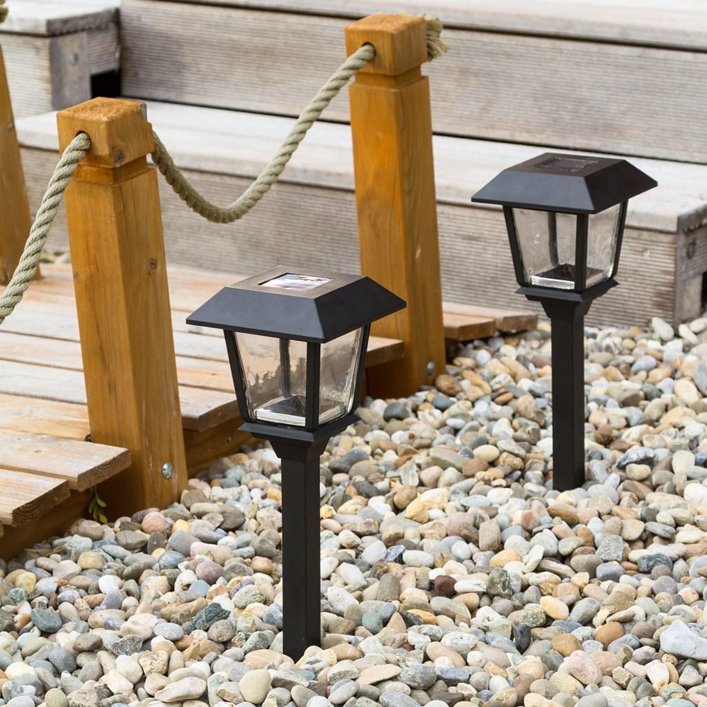Lampe de jardin avec lanterne carr e nergie solaire h 48 5 cm led blanc froid lanternes led - Lampe de jardin led ...