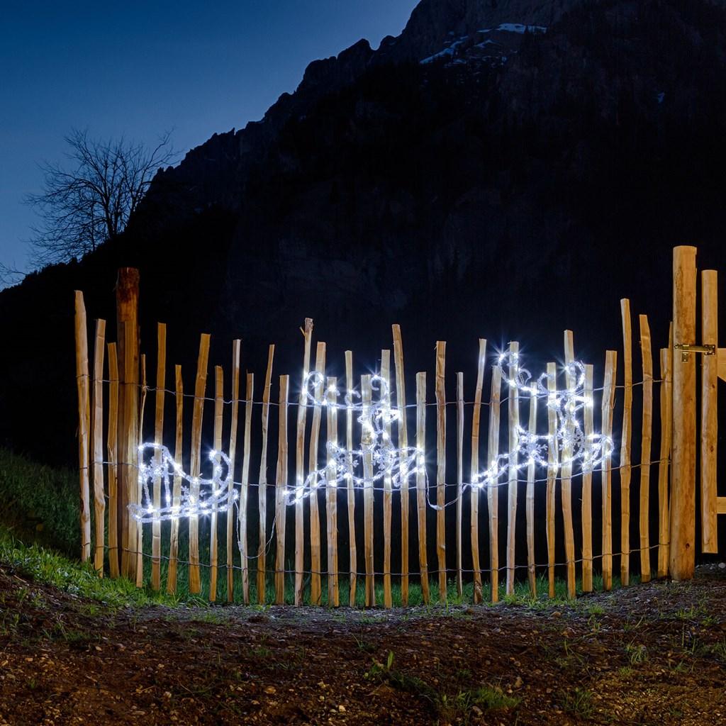 Weihnachtsbeleuchtung Schlitten Rentiere.Rentiere Mit Schlitten 180 X H 50 Cm 144 Leds Kaltweiß