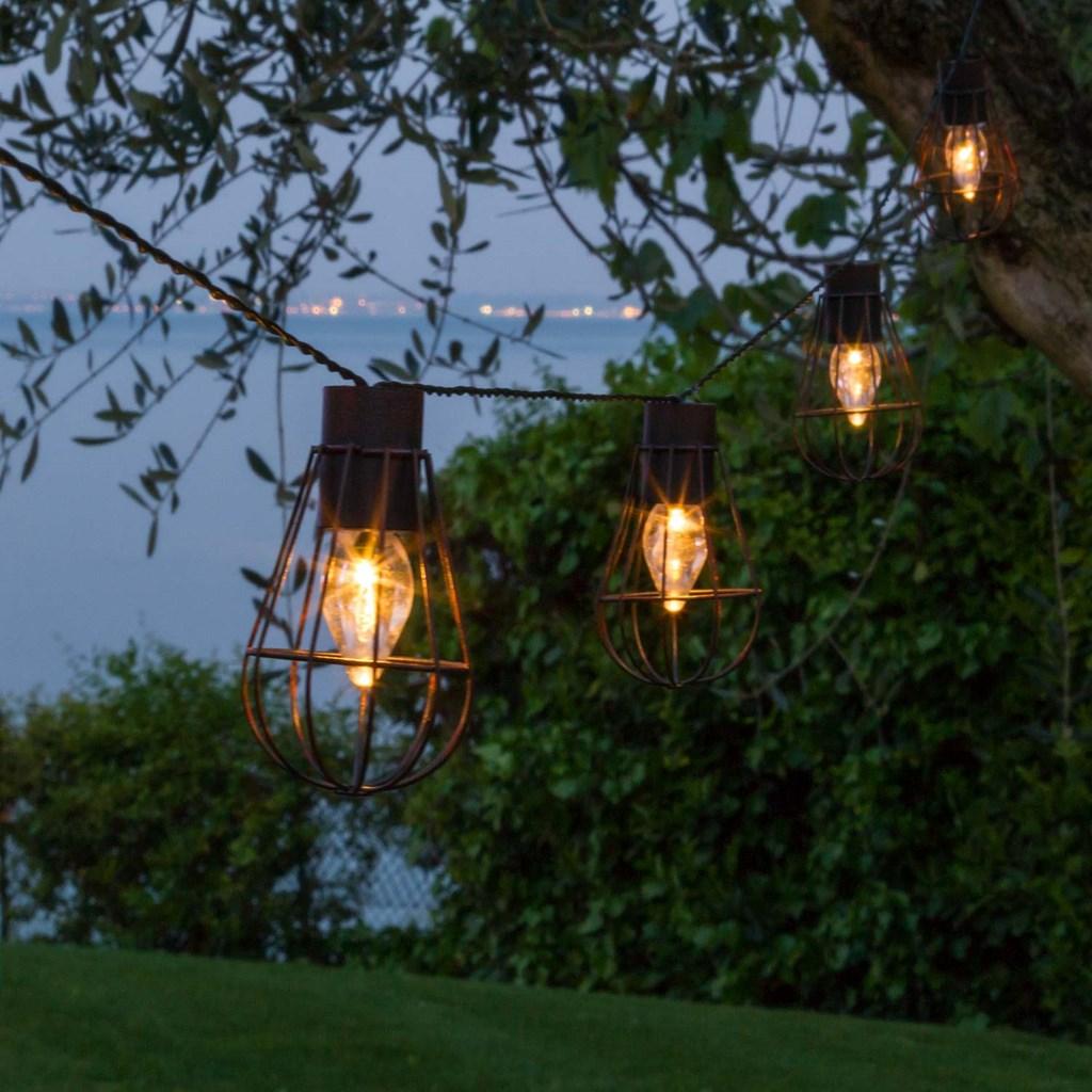 Catena decorata a energia solare 4 50 m 10 lanterne for Lanterne led jardin