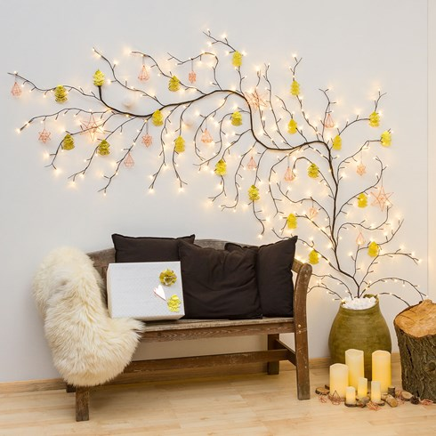Branche marron h 3 m, 288 led blanc chaud
