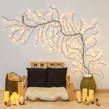 Branche marron h 3 m, 288 led blanc chaud, câble marron
