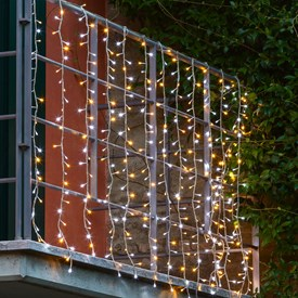 Cortina de luces bicolor 3 x h. 1,1m, 336 Led cálido y blanco
