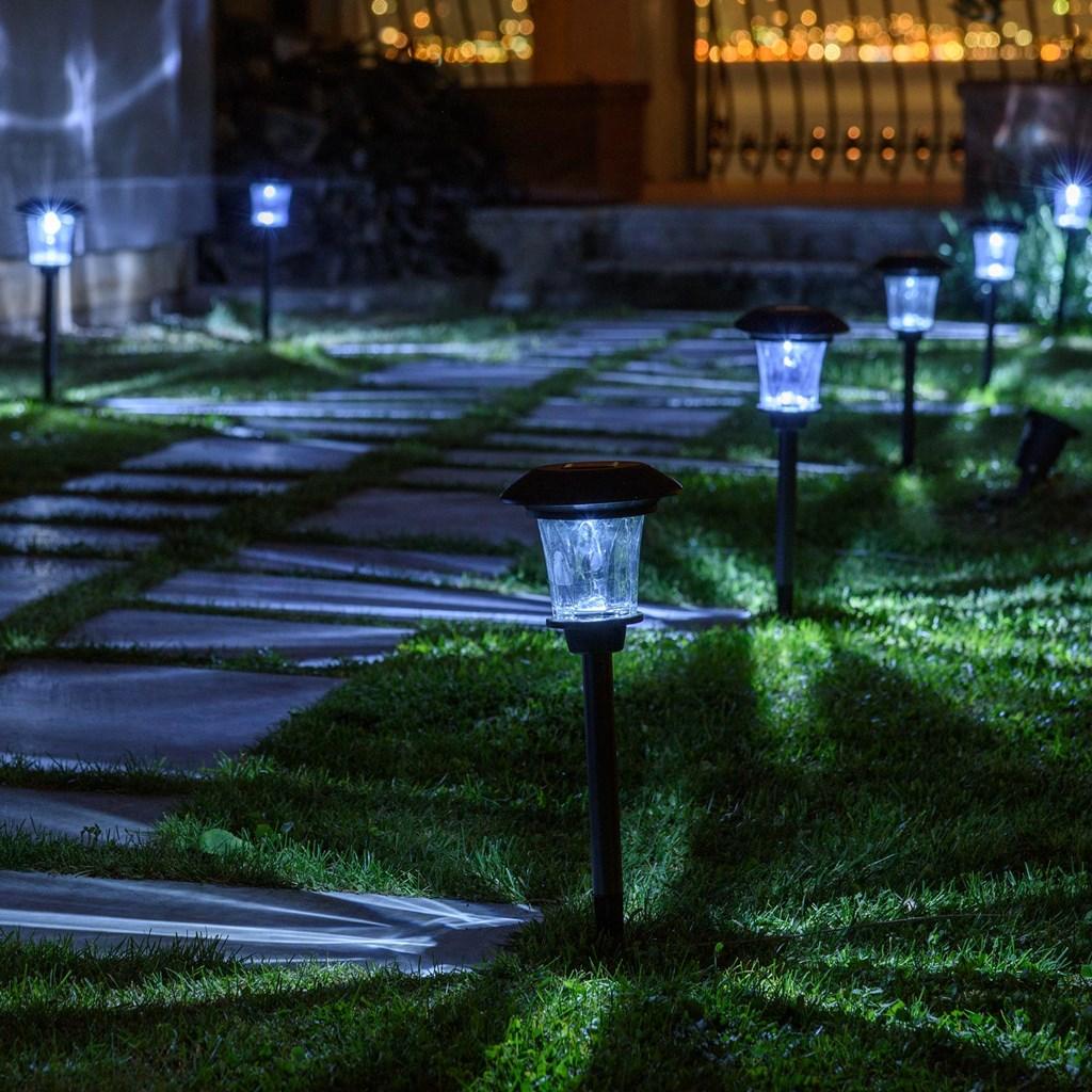 Baliza solar de jard n con farolillo h 47 cm led blanco - Balizas solares jardin ...
