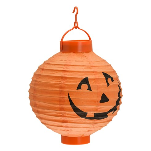 Lampion citrouille Halloween Ø 20 cm, blanc chaud