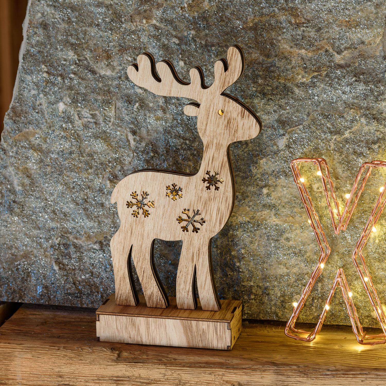 Rentier Aus Naturholz H 25 Cm, 6 LEDs Warmweiß, Batteriebetrieben