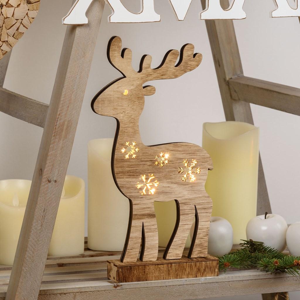 Renna traforata in legno h 37 cm 8 led bianco caldo batteria motivi per la casa - Renna natalizia luminosa per giardino ...
