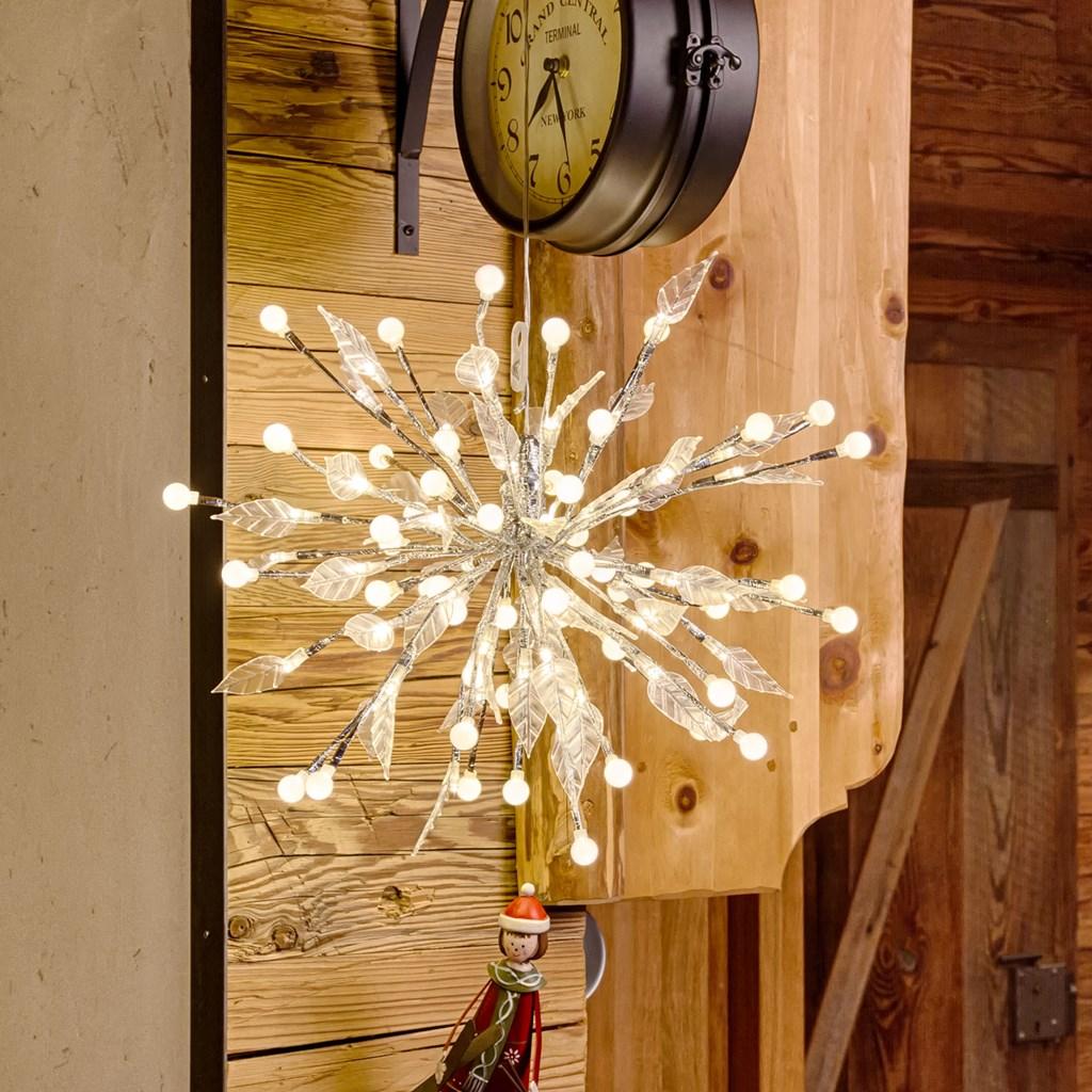 silberner fireball 40 cm 100 leds warmwei lichterzweige. Black Bedroom Furniture Sets. Home Design Ideas