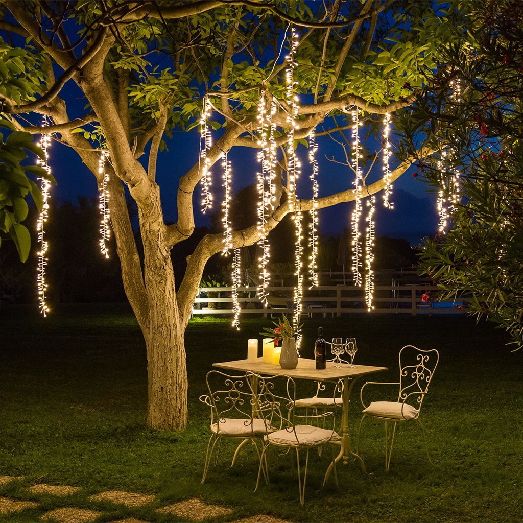 Cascata di luci a 3 nastri 288 led bianco caldo cavo - Ghirlande luminose per esterno ...
