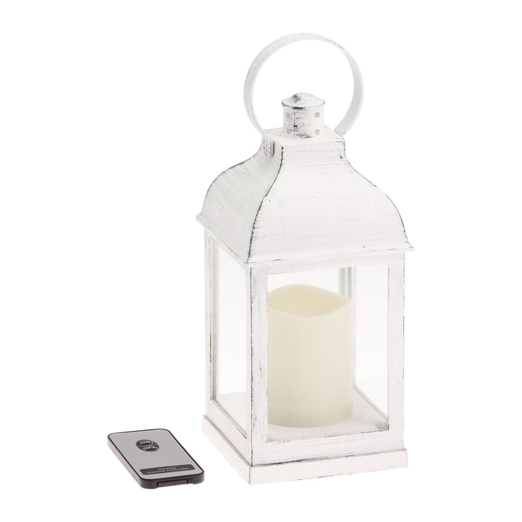 Laterne Antikweiß viereckig h 24 cm mit LED-Kerze, warmweißes Licht ...