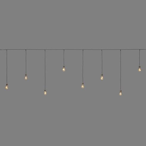 Filo di lampadine pendenti, 2,4 x h 0,75 cm, 8 lampadine a goccia con miniled bianco caldo ...