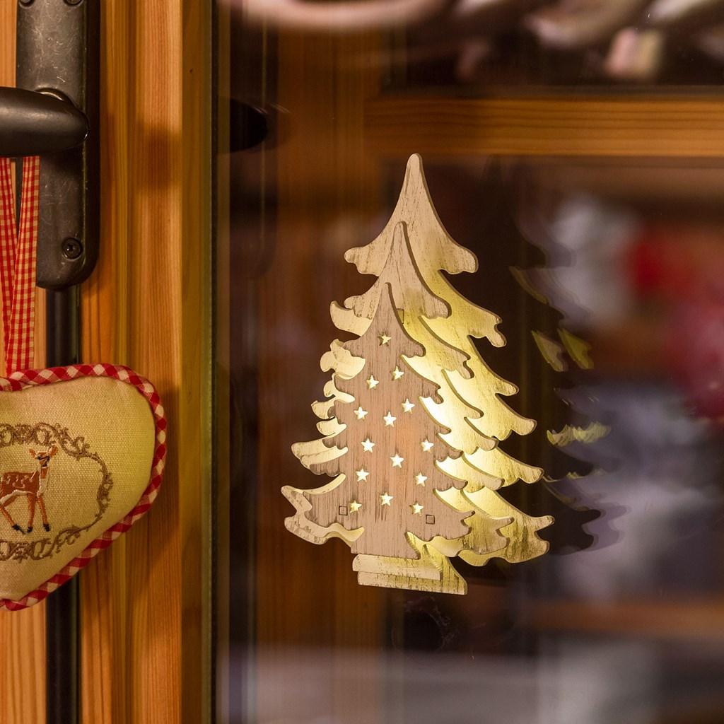 60ff980e0ee Árbol de madera con luces Led h. 16 cm