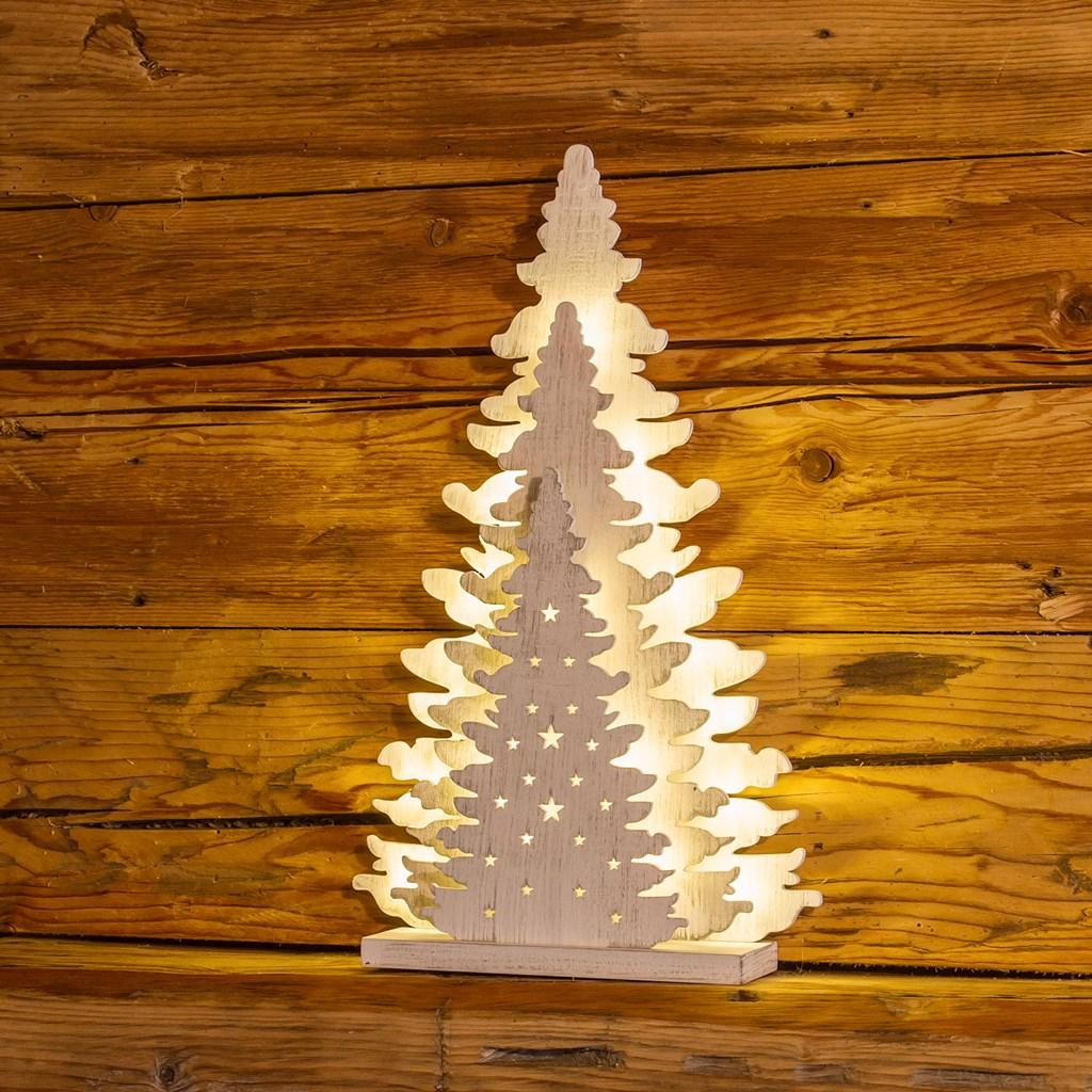 48de66fb25f Árbol de madera con luces Led h. 35 cm