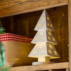 52d2b6d971d Árbol luminoso de madera blanca a pilas con luces Led blanco cálido h. 34 cm