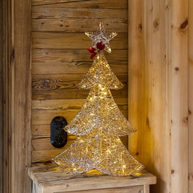 Sapin paillettes or h 67 cm, 64 led blanc chaud