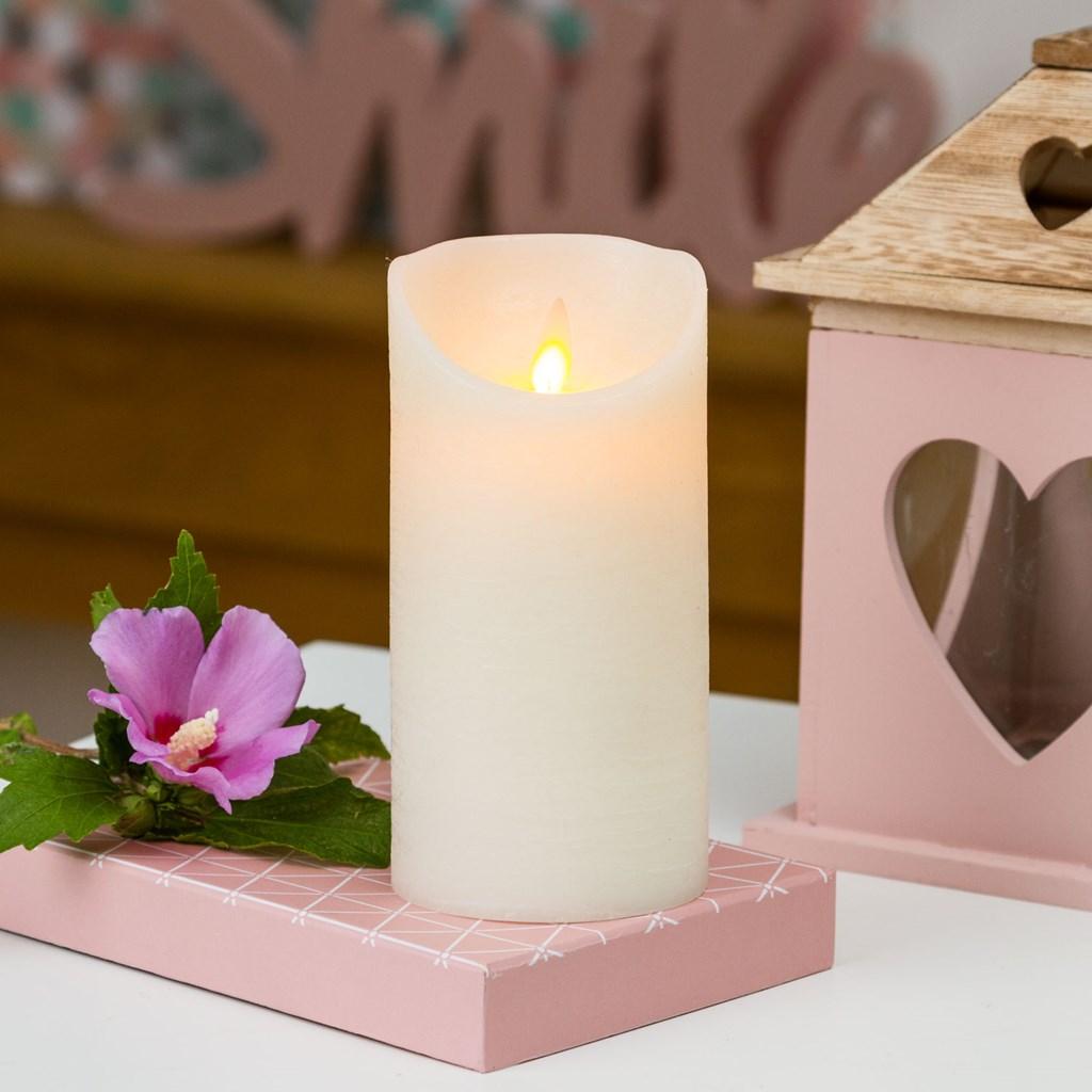 bougie en cire rustique blanche h 15 cm led blanc chaud timer bougies et chauffe plat led. Black Bedroom Furniture Sets. Home Design Ideas