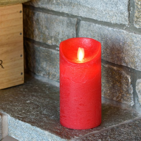 rote led wachskerze h 15 cm 7 5 cm warmwei mit timer led kerzen und teelichter. Black Bedroom Furniture Sets. Home Design Ideas